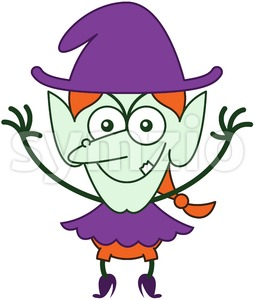 Weird Halloween witch smiling maliciously Stock Vector