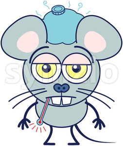 Cute gray mouse feeling sick and showing a sad mood Stock Vector