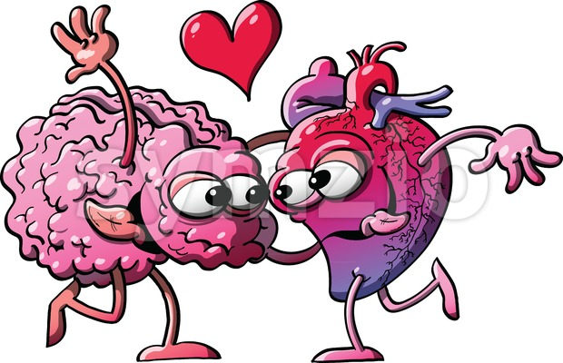 Funny couple of heart and brain madly falling in love Stock Vector