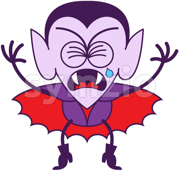Halloween Dracula weeping and sobbing bitterly Stock Vector