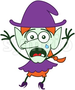Cute Halloween witch weeping and feeling anxious Stock Vector