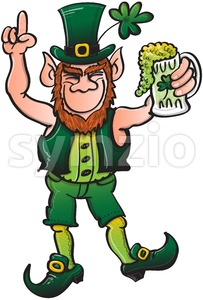Smiling Leprechaun drinking a toast to Saint Patrick Stock Vector