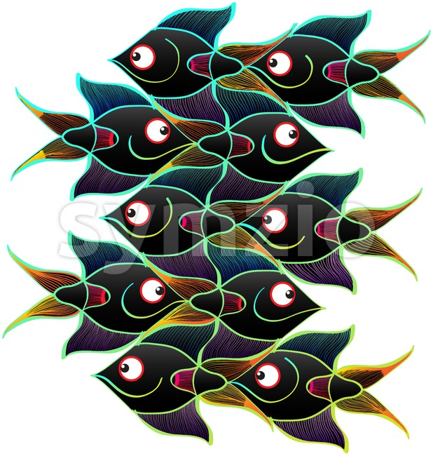 Black fishes swimming in opposite directions while forming a surface with no gaps