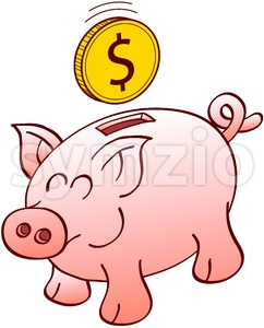 Happy piggy bank smiling when receiving a dollar coin Stock Vector