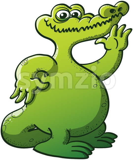 Friendly green crocodile waving and smiling Stock Vector