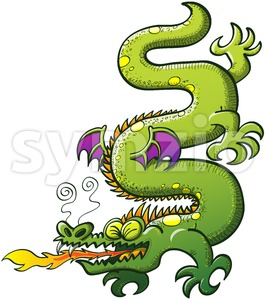 Crocodile like green dragon spitting fire Stock Vector