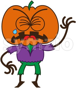 Halloween scarecrow feeling sad and crying Stock Vector